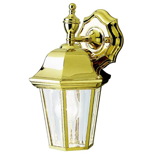 Kichler Lighting Kichler Outdoor Wall Light with Clear Glass in Polished Brass Finish 9409PB