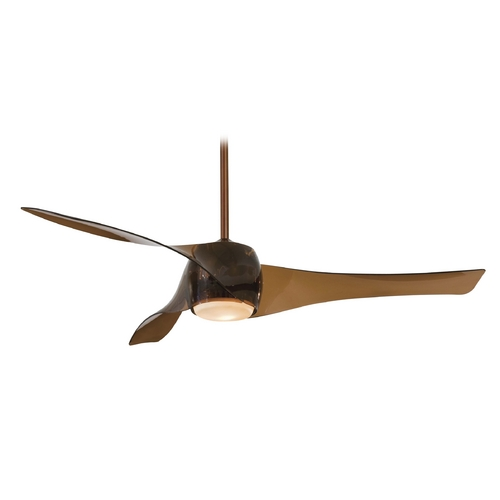 Minka Aire Modern Ceiling Fan with Light with White Glass in Copper Bronze Finish F803-CPBR