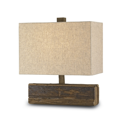 Currey and Company Lighting Table Lamp with Beige / Cream Shade in Natural Finish 6774