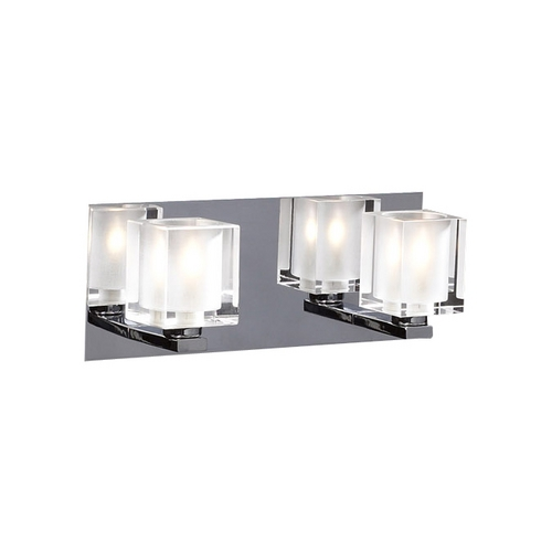 PLC Lighting Modern Bathroom Light with Clear Glass in Polished Chrome Finish 3482 PC