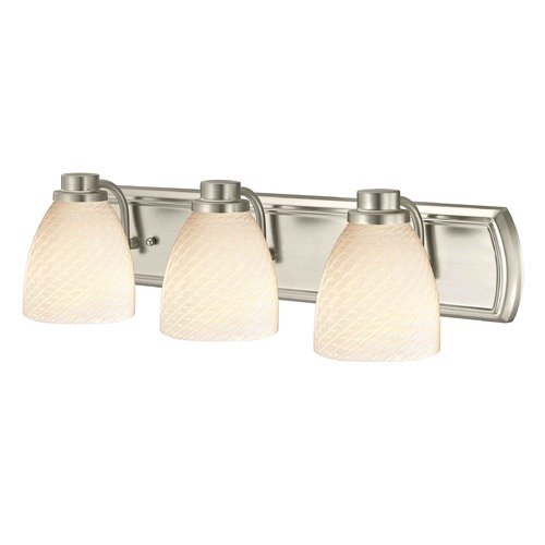 Design Classics Lighting 3-Light Bath Wall Light in Satin Nickel with White Art Glass 1203-09 GL1020MB