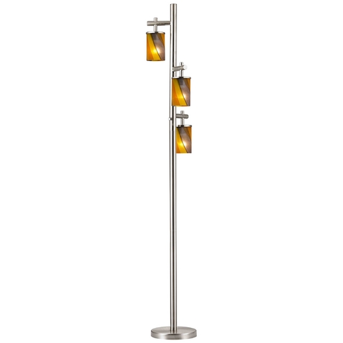 Design Classics Lighting Satin Nickel SODO Floor Lamp with Carnival Cylindrical Glass Shade 1118-1-09/ GL1015C