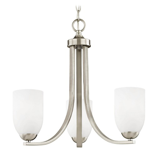 Design Classics Lighting Satin Nickel Mini-Chandelier 5843-09 GL1028D