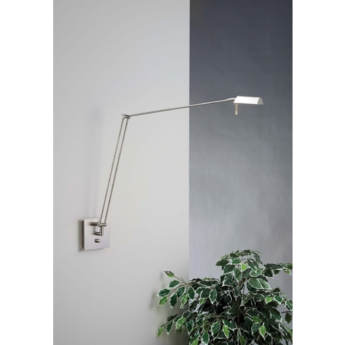 Holtkoetter Lighting Holtkoetter Modern Swing Arm Lamp in Satin Nickel Finish 8192 SN