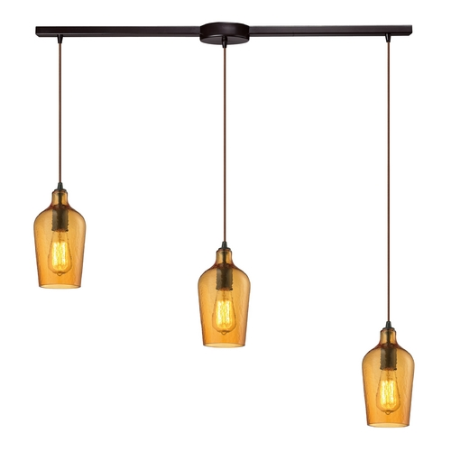 Elk Lighting Multi-Light Pendant Light with Amber Glass and 3-Lights 10331/3L-HAMB