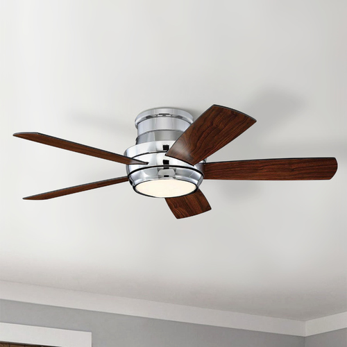 Craftmade Lighting Craftmade Lighting Tempo Hugger Chrome LED Ceiling Fan with Light TMPH44CH5