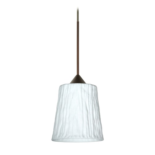 Besa Lighting Besa Lighting Nico Bronze Mini-Pendant Light with Fluted Shade 1XT-5125OS-BR