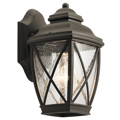 Kichler Lighting Seeded Glass Outdoor Wall Light Bronze Kichler Lighting 49840OZ