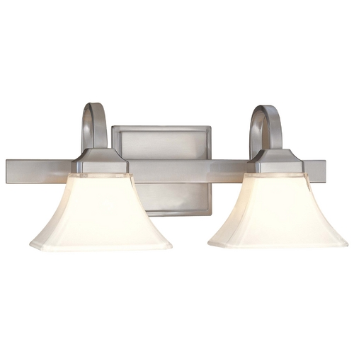Minka Lavery Bathroom Light with White Glass in Brushed Nickel Finish 6812-84