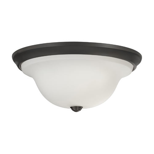 Feiss Lighting Flushmount Light with White Glass in Oil Rubbed Bronze Finish FM362ORB