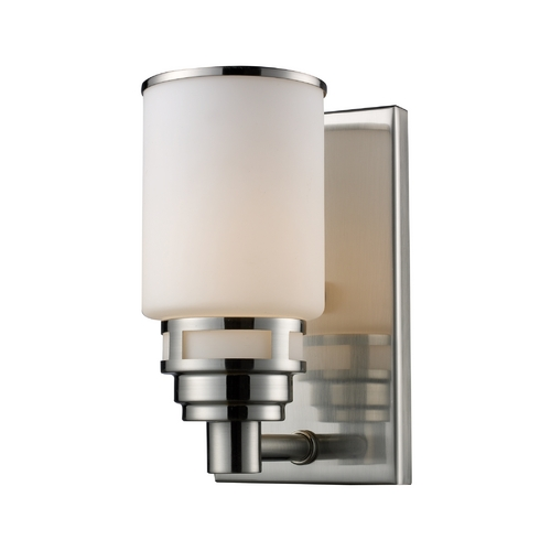 Elk Lighting Modern Sconce with White Glass in Satin Nickel Finish 11264/1