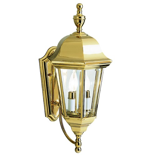 Kichler Lighting Kichler Outdoor Wall Light with Clear Glass in Polished Brass Finish 9439PB