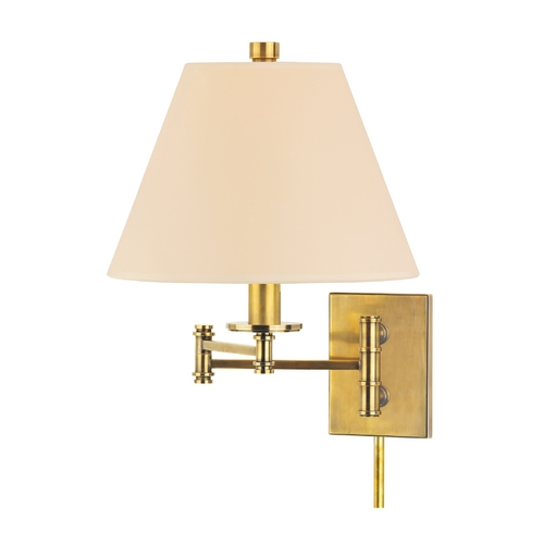 Hudson Valley Lighting Swing Arm Lamp with Beige / Cream Paper Shade in Aged Brass Finish 7721-AGB