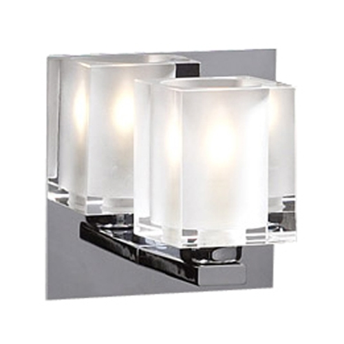 PLC Lighting Modern Sconce Wall Light with Clear Glass in Polished Chrome Finish 3481 PC
