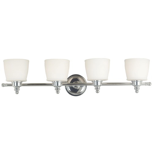 Kenroy Home Lighting Modern Bathroom Light with White Glass in Chrome Finish 91704CH