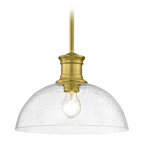 Design Classics Lighting Industrial Seeded Glass Pendant Light Brass 13-Inch Wide 1761-12 G1785-CS