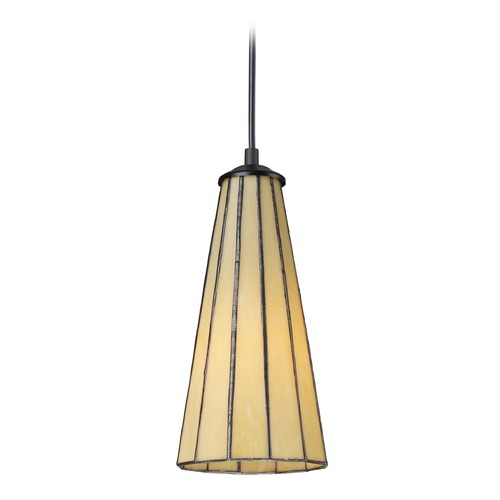 Elk Lighting Elk Lighting Lumino Hazy Beige, Matte Black LED Mini-Pendant Light with Conical Shade 70000-1HB-LED