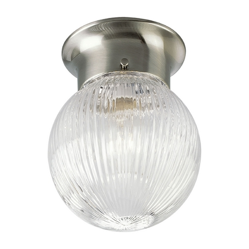 Progress Lighting Progress Flushmount Light with Clear Glass in Brushed Nickel Finish P3599-09