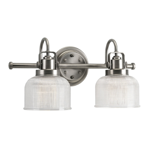 Progress Lighting Progress Bathroom Light with Clear Glass in Antique Nickel Finish P2991-81