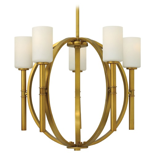Hinkley Lighting Chandelier with White Glass in Vintage Brass Finish 3585VS