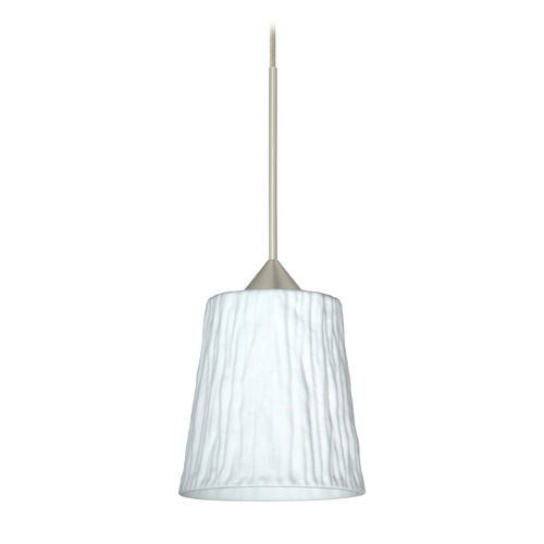 Besa Lighting Besa Lighting Nico Satin Nickel Mini-Pendant Light with Fluted Shade 1XT-5125OS-SN
