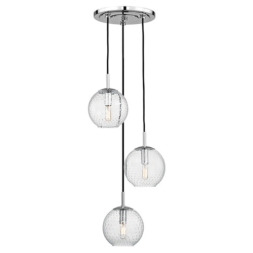 Hudson Valley Lighting Mid-Century Modern Multi-Light Pendant Chrome Rousseau by Hudson Valley Lighting 2033-PC-CL