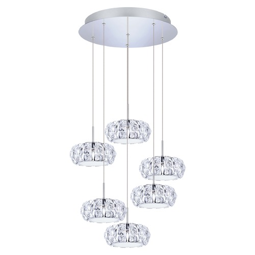 Eglo Lighting Eglo Corliano Chrome LED Multi-Light Pendant with Drum Shade 39008A