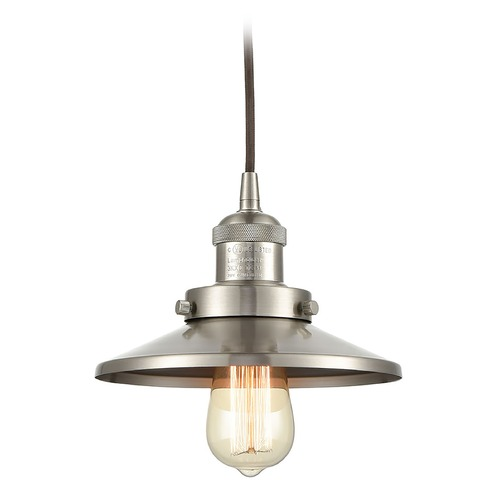 Elk Lighting Elk Lighting English Pub Satin Nickel Mini-Pendant Light with Coolie Shade 67174/1