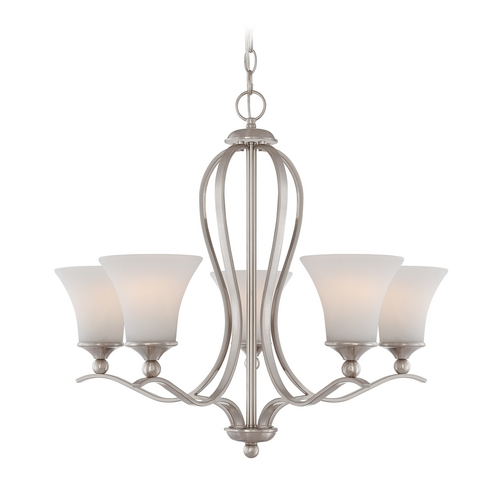 Quoizel Lighting Chandelier with White Glass in Brushed Nickel Finish SPH5005BN