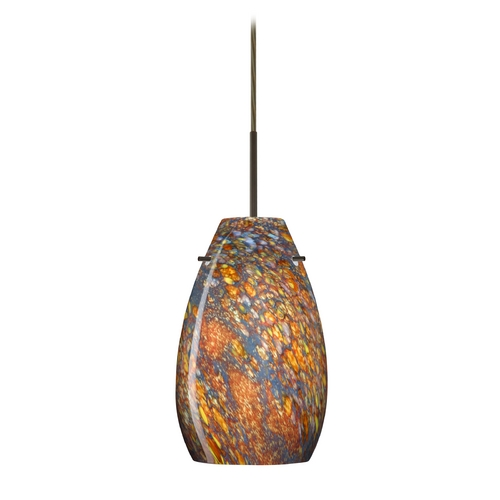 Besa Lighting Modern Pendant Light with Multi-Color Glass in Bronze Finish 1JT-4126CE-BR