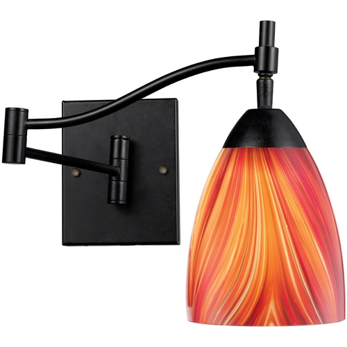Elk Lighting Swing Arm Lamp with Art Glass in Dark Rust Finish 10151/1DR-M