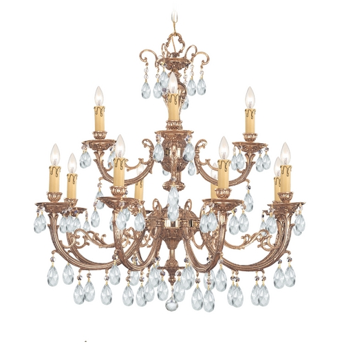 Crystorama Lighting Crystal Chandelier in Olde Brass Finish 499-OB-CL-MWP