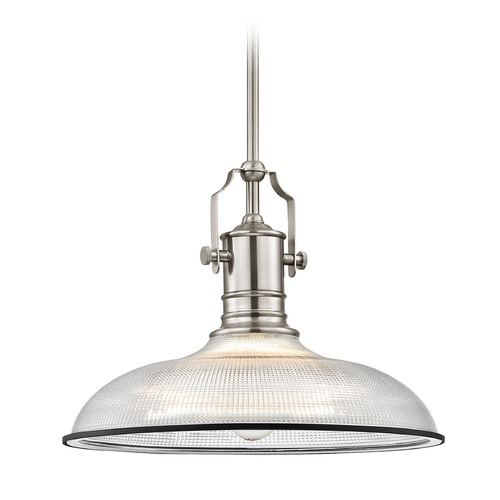 Design Classics Lighting Industrial Pendant Light Prismatic Glass Nickel / Chrome 14.38-Inch Wide 1765-09 G1781-FC R1781-07