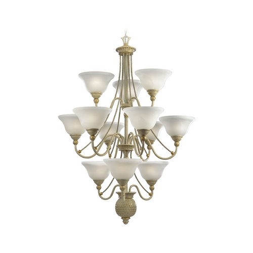 Progress Lighting Progress Chandelier with Alabaster Glass in Seabrook Finish P4122-42