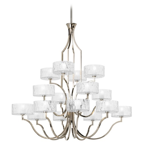 Progress Lighting Modern Chandelier with Clear Glass in Polished Nickel Finish P4685-104WB
