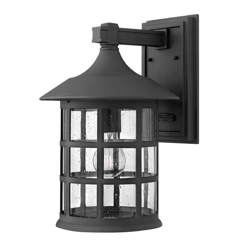 Hinkley Lighting Seeded Glass Outdoor Wall Light Black Hinkley Lighting 1805BK-GU24