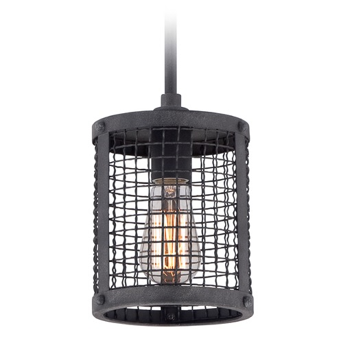 Quoizel Lighting Quoizel Wilder Mottled Black Mini-Pendant Light with Cylindrical Shade WLR1506MB