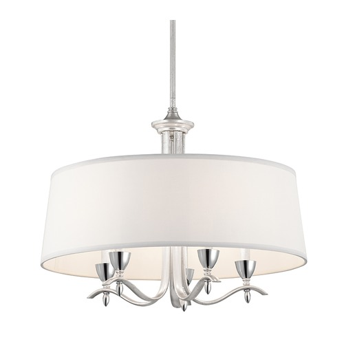 Kichler Lighting Kichler Lighting Cordova Silver Leaf Pendant Light with Drum Shade 43837SIL