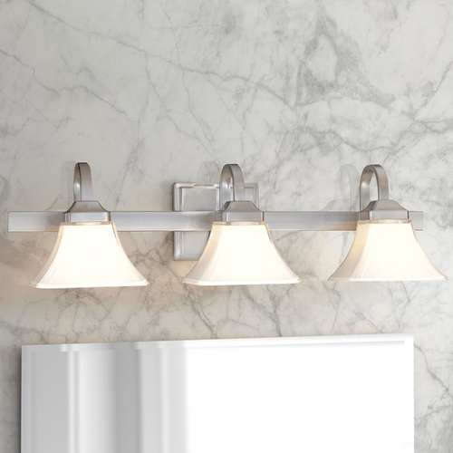 Minka Lavery Bathroom Light with White Glass in Brushed Nickel Finish 6813-84