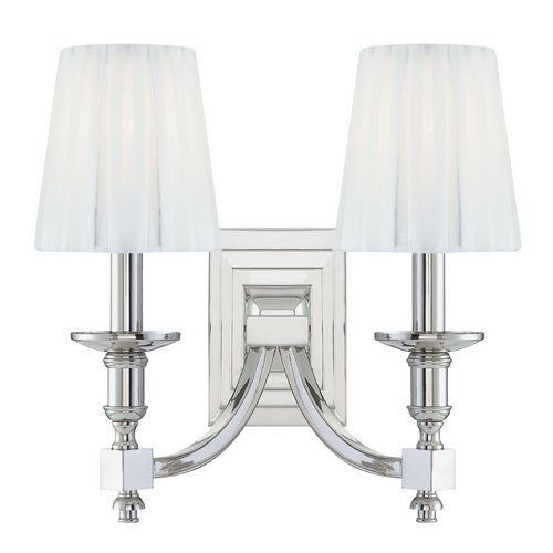 Metropolitan Lighting Sconce Wall Light with White Shades in Polished Nickel Finish N2642-613