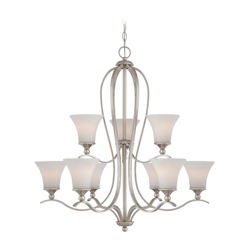 Quoizel Lighting Chandelier with White Glass in Brushed Nickel Finish SPH5009BN