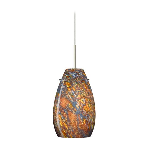 Besa Lighting Modern Pendant Light with Multi-Color Glass in Satin Nickel Finish 1JT-4126CE-SN