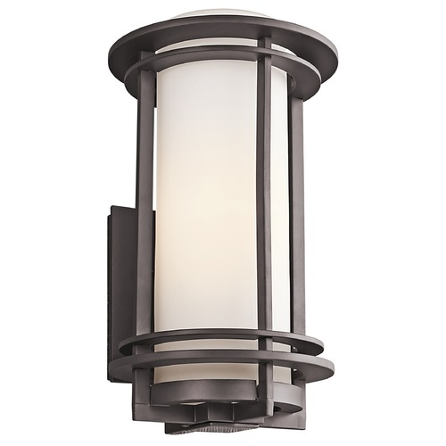 Kichler Lighting Kichler Outdoor Wall Light with White Glass in Bronze Finish 49346AZ