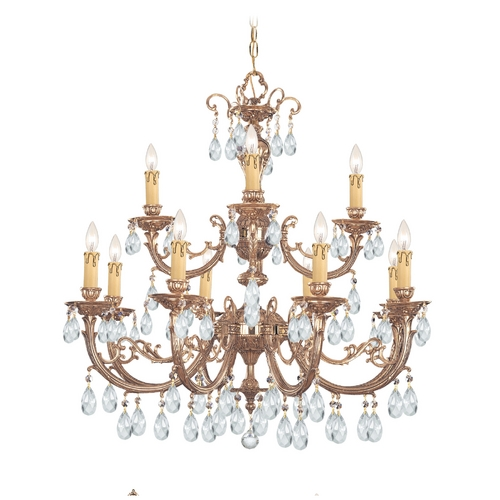 Crystorama Lighting Crystal Chandelier in Olde Brass Finish 499-OB-CL-S