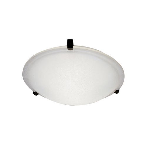 PLC Lighting Modern Flushmount Light with White Glass in Rust Finish 3475  RU
