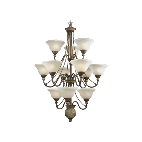 Progress Lighting Progress Chandelier with Alabaster Glass in Burnished Chestnut Finish P4122-86