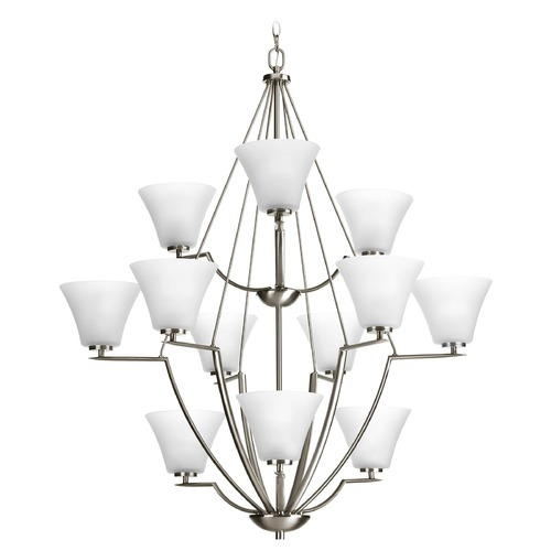 Progress Lighting Modern Chandelier with White Glass in Brushed Nickel Finish P4687-09