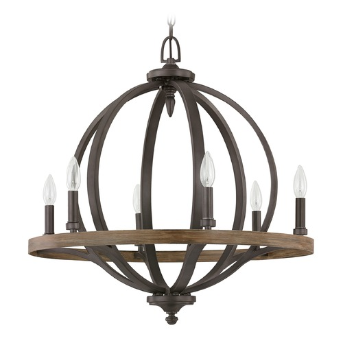 Capital Lighting Capital Lighting Brayden Iron and Oak Pendant Light 4906IA