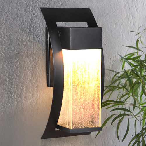 Craftmade Lighting Seeded Glass LED Outdoor Wall Light Black Craftmade Lighting Z2514-11-LED