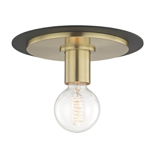 Mitzi by Hudson Valley Mid-Century Modern Flushmount Light Brass / Black Mitzi Milo by Hudson Valley H137501S-AGB/BK